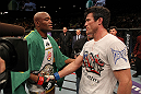 LAS VEGAS, NV - JULY 7:   (L-R) Anderson Silva and Chael Sonnen congratulate one another after their UFC middleweight championship bout at UFC 148 inside MGM Grand Garden Arena on July 7, 2012 in Las Vegas, Nevada.  (Photo by Josh Hedges/Zuffa LLC/Zuffa LLC via Getty Images)  *** Local Caption *** Anderson Silva; Chael Sonnen