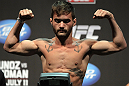 SAN JOSE, CA - JULY 10:   Josh Ferguson makes weight during the UFC on Fuel TV weigh in at HP Pavilion on July 10, 2012 in San Jose, California.  (Photo by Josh Hedges/Zuffa LLC/Zuffa LLC via Getty Images)