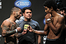SAN JOSE, CA - JULY 10:   (L-R) Opponents Damacio Page and Alex Caceres face off during the UFC on Fuel TV weigh in at HP Pavilion on July 10, 2012 in San Jose, California.  (Photo by Josh Hedges/Zuffa LLC/Zuffa LLC via Getty Images)
