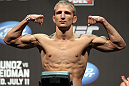 SAN JOSE, CA - JULY 10:   T.J. Dillashaw makes weight during the UFC on Fuel TV weigh in at HP Pavilion on July 10, 2012 in San Jose, California.  (Photo by Josh Hedges/Zuffa LLC/Zuffa LLC via Getty Images)