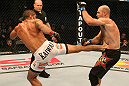 SAN JOSE, CA - JULY 11:   (L-R) Marcelo Guimaraes kicks Dan Stittgen during their welterweight bout at HP Pavilion on July 11, 2012 in San Jose, California.  (Photo by Ezra Shaw/Zuffa LLC/Zuffa LLC via Getty Images)  *** Local Caption *** Marcelo Guimaraes; Dan Stittgen