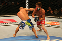 SAN JOSE, CA - JULY 11:   (L-R) Chris Cariaso punches Josh Ferguson during their flyweight bout at HP Pavilion on July 11, 2012 in San Jose, California.  (Photo by Ezra Shaw/Zuffa LLC/Zuffa LLC via Getty Images)  *** Local Caption *** Chris Cariaso; Josh Ferguson