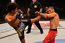 SAN JOSE, CA - JULY 11:   (L-R) Alex Caceres kicks Damacio Page during their bantamweight bout at HP Pavilion on July 11, 2012 in San Jose, California.  (Photo by Ezra Shaw/Zuffa LLC/Zuffa LLC via Getty Images)  *** Local Caption *** Damacio Page; Alex Caceres