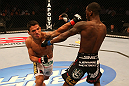 SAN JOSE, CA - JULY 11:   (L-R) Rafael dos Anjos punches Anthony Njokuani during their lightweight bout at HP Pavilion on July 11, 2012 in San Jose, California.  (Photo by Ezra Shaw/Zuffa LLC/Zuffa LLC via Getty Images)  *** Local Caption *** Rafael Dos Anjos; Anthony Njokuani