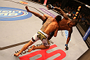SAN JOSE, CA - JULY 11:   (L-R) Rafael dos Anjos takes down Anthony Njokuani during their lightweight bout at HP Pavilion on July 11, 2012 in San Jose, California.  (Photo by Ezra Shaw/Zuffa LLC/Zuffa LLC via Getty Images)  *** Local Caption *** Rafael Dos Anjos; Anthony Njokuani