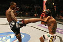 SAN JOSE, CA - JULY 11:   (L-R) Anthony Njokuani kicks Rafael dos Anjos during their lightweight bout at HP Pavilion on July 11, 2012 in San Jose, California.  (Photo by Ezra Shaw/Zuffa LLC/Zuffa LLC via Getty Images)  *** Local Caption *** Rafael Dos Anjos; Anthony Njokuani