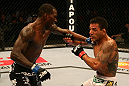 SAN JOSE, CA - JULY 11:   (L-R) Anthony Njokuani punches Rafael dos Anjos during their lightweight bout at HP Pavilion on July 11, 2012 in San Jose, California.  (Photo by Ezra Shaw/Zuffa LLC/Zuffa LLC via Getty Images)  *** Local Caption *** Rafael Dos Anjos; Anthony Njokuani