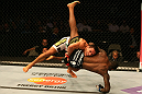SAN JOSE, CA - JULY 11:   Rafael dos Anjos (white shorts) takes down Anthony Njokuani during their lightweight bout at HP Pavilion on July 11, 2012 in San Jose, California.  (Photo by Ezra Shaw/Zuffa LLC/Zuffa LLC via Getty Images)  *** Local Caption *** Rafael Dos Anjos; Anthony Njokuani