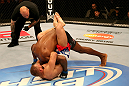 SAN JOSE, CA - JULY 11:   Karlos Vemola (bottom) attempts to submit Francis Carmont as referee Josh Rosenthal looks on during their middleweight bout at HP Pavilion on July 11, 2012 in San Jose, California.  (Photo by Ezra Shaw/Zuffa LLC/Zuffa LLC via Getty Images)  *** Local Caption *** Karlos Vemola; Francis Carmont; Josh Rosenthal