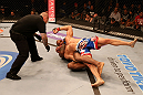 SAN JOSE, CA - JULY 11:   Francis Carmont attempts to submit Karlos Vemola (blue shorts) during their middleweight bout at HP Pavilion on July 11, 2012 in San Jose, California.  (Photo by Ezra Shaw/Zuffa LLC/Zuffa LLC via Getty Images)  *** Local Caption *** Karlos Vemola; Francis Carmont