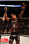 SAN JOSE, CA - JULY 11:   Francis Carmont reacts to his submission victory over Karlos Vemola after their middleweight bout at HP Pavilion on July 11, 2012 in San Jose, California.  (Photo by Ezra Shaw/Zuffa LLC/Zuffa LLC via Getty Images)  *** Local Caption *** Francis Carmont