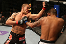 SAN JOSE, CA - JULY 11:   (L-R) James Te Huna punches Joey Beltran during their light heavyweight bout at HP Pavilion on July 11, 2012 in San Jose, California.  (Photo by Ezra Shaw/Zuffa LLC/Zuffa LLC via Getty Images)  *** Local Caption *** James Te Huna; Joey Beltran