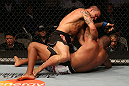 SAN JOSE, CA - JULY 11:   James Te Huna (top) punches Joey Beltran during their light heavyweight bout at HP Pavilion on July 11, 2012 in San Jose, California.  (Photo by Ezra Shaw/Zuffa LLC/Zuffa LLC via Getty Images)  *** Local Caption *** James Te Huna; Joey Beltran