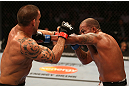 SAN JOSE, CA - JULY 11:   Joey Beltran (right) punches James Te Huna during their light heavyweight bout at HP Pavilion on July 11, 2012 in San Jose, California.  (Photo by Ezra Shaw/Zuffa LLC/Zuffa LLC via Getty Images)  *** Local Caption *** James Te Huna; Joey Beltran