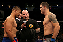 SAN JOSE, CA - JULY 11:   Mark Munoz (left) and Chris Weidman (right) face off during their middleweight bout at HP Pavilion on July 11, 2012 in San Jose, California.  (Photo by Ezra Shaw/Zuffa LLC/Zuffa LLC via Getty Images)  *** Local Caption *** Mark Munoz; Chris Weidman