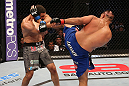 SAN JOSE, CA - JULY 11:   (R-L) Mark Munoz kicks Chris Weidman during their middleweight bout at HP Pavilion on July 11, 2012 in San Jose, California.  (Photo by Ezra Shaw/Zuffa LLC/Zuffa LLC via Getty Images)  *** Local Caption *** Mark Munoz; Chris Weidman