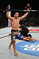 SAN JOSE, CA - JULY 11:   Chris Weidman (grey shorts) reacts to his knockout victory over Mark Munoz during their middleweight bout at HP Pavilion on July 11, 2012 in San Jose, California.  (Photo by Ezra Shaw/Zuffa LLC/Zuffa LLC via Getty Images)  *** Local Caption *** Mark Munoz; Chris Weidman