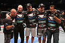 SAN JOSE, CA - JULY 11:   Chris Weidman (second from right) with his team at HP Pavilion on July 11, 2012 in San Jose, California.  (Photo by Ezra Shaw/Zuffa LLC/Zuffa LLC via Getty Images)  *** Local Caption *** Chris Weidman