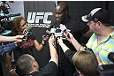 CALGARY, CANADA - JULY 18: Cheick Kongo speaks to the media during the UFC 149 Open Workouts inside Champion's Creed Gym on July 18, 2012 in Calgary, Alberta, Canada.  (Photo by Jeff Bottari/Zuffa LLC/Zuffa LLC via Getty Images)