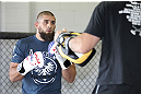 CALGARY, CANADA - JULY 18: Court McGee works out for the fans and media during the UFC 149 Open Workouts inside Champion's Creed Gym on July 18, 2012 in Calgary, Alberta, Canada.  (Photo by Jeff Bottari/Zuffa LLC/Zuffa LLC via Getty Images)