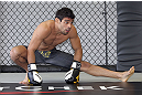 CALGARY, CANADA - JULY 18:  Renan Barao works out for the fans and media during the UFC 149 Open Workouts inside Champion&#39;s Creed Gym on July 18, 2012 in Calgary, Alberta, Canada.  (Photo by Jeff Bottari/Zuffa LLC/Zuffa LLC via Getty Images)
