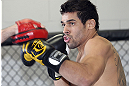 CALGARY, CANADA - JULY 18:  Renan Barao works out for the fans and media during the UFC 149 Open Workouts inside Champion's Creed Gym on July 18, 2012 in Calgary, Alberta, Canada.  (Photo by Jeff Bottari/Zuffa LLC/Zuffa LLC via Getty Images)