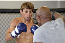 CALGARY, CANADA - JULY 18: Uriah Faber works out for the fans and media during the UFC 149 Open Workouts inside Champion&#39;s Creed Gym on July 18, 2012 in Calgary, Alberta, Canada.  (Photo by Jeff Bottari/Zuffa LLC/Zuffa LLC via Getty Images)