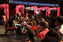 CALGARY, CANADA - JULY 19: UFC President Dana White fields questions from the media after the UFC 149 press conference at the Flames Central Sports Club on July 19, 2012 in Calgary, Alberta, Canada. (Photo by Jeff Bottari/Zuffa LLC/Zuffa LLC via Getty Images)
