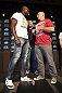 CALGARY, CANADA - JULY 19: Cheick Kongo and Shawn Jordan square off at the UFC 149 press conference at the Flames Central Sports Club on July 19, 2012 in Calgary, Alberta, Canada. (Photo by Jeff Bottari/Zuffa LLC/Zuffa LLC via Getty Images)