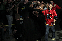 CALGARY, CANADA - JULY 20:  Nick Ring greets the crowd at the UFC 149 weigh-in at the Scotiabank Saddledome on July 20, 2012 in Calgary, Alberta, Canada.  (Photo by Jeff Bottari/Zuffa LLC/Zuffa LLC via Getty Images)