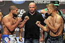 CALGARY, CANADA - JULY 20: Court McGee and Nick Ring face off at the UFC 149 weigh-in at the Scotiabank Saddledome on July 20, 2012 in Calgary, Alberta, Canada.  (Photo by Jeff Bottari/Zuffa LLC/Zuffa LLC via Getty Images)