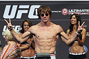 CALGARY, CANADA - JULY 20: Matthew Riddle makes weight at the UFC 149 weigh-in at the Scotiabank Saddledome on July 20, 2012 in Calgary, Alberta, Canada.  (Photo by Jeff Bottari/Zuffa LLC/Zuffa LLC via Getty Images)
