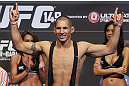 CALGARY, CANADA - JULY 20:  Chris Clements makes weight at the UFC 149 weigh-in at the Scotiabank Saddledome on July 20, 2012 in Calgary, Alberta, Canada.  (Photo by Jeff Bottari/Zuffa LLC/Zuffa LLC via Getty Images)