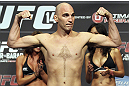 CALGARY, CANADA - JULY 20: Brian Ebersole makes weight at the UFC 149 weigh-in at the Scotiabank Saddledome on July 20, 2012 in Calgary, Alberta, Canada.  (Photo by Jeff Bottari/Zuffa LLC/Zuffa LLC via Getty Images)