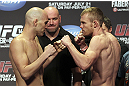 CALGARY, CANADA - JULY 20:  Brian Ebersole and James Head face off at the UFC 149 weigh-in at the Scotiabank Saddledome on July 20, 2012 in Calgary, Alberta, Canada.  (Photo by Jeff Bottari/Zuffa LLC/Zuffa LLC via Getty Images)