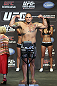 CALGARY, CANADA - JULY 20:  Shawn Jordan makes weight at the UFC 149 weigh-in at the Scotiabank Saddledome on July 20, 2012 in Calgary, Alberta, Canada.  (Photo by Jeff Bottari/Zuffa LLC/Zuffa LLC via Getty Images)