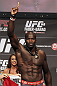 CALGARY, CANADA - JULY 20: Cheick Kongo makes weight at the UFC 149 weigh-in at the Scotiabank Saddledome on July 20, 2012 in Calgary, Alberta, Canada.  (Photo by Jeff Bottari/Zuffa LLC/Zuffa LLC via Getty Images)
