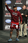 CALGARY, CANADA - JULY 20:  Hector Lombard waves to the crowd at the UFC 149 weigh-in at the Scotiabank Saddledome on July 20, 2012 in Calgary, Alberta, Canada.  (Photo by Jeff Bottari/Zuffa LLC/Zuffa LLC via Getty Images)