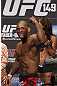CALGARY, CANADA - JULY 20: Hector Lombard gestures to the crowd after he makes weight at the UFC 149 weigh-in at the Scotiabank Saddledome on July 20, 2012 in Calgary, Alberta, Canada.  (Photo by Jeff Bottari/Zuffa LLC/Zuffa LLC via Getty Images)