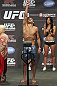 CALGARY, CANADA - JULY 20:  Renan Barao makes weight at the UFC 149 weigh-in at the Scotiabank Saddledome on July 20, 2012 in Calgary, Alberta, Canada.  (Photo by Jeff Bottari/Zuffa LLC/Zuffa LLC via Getty Images)