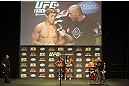 CALGARY, CANADA - JULY 20: Urijah Faber is interviewed by Joe Rogan after making weight at the UFC 149 weigh-in at the Scotiabank Saddledome on July 20, 2012 in Calgary, Alberta, Canada.  (Photo by Jeff Bottari/Zuffa LLC/Zuffa LLC via Getty Images)