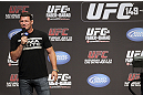 CALGARY, CANADA - JULY 20:  Michael Bisping conducts a Q&amp;A session with the fans prior to the UFC 149 weigh-in at the Scotiabank Saddledome on July 20, 2012 in Calgary, Alberta, Canada.  (Photo by Jeff Bottari/Zuffa LLC/Zuffa LLC via Getty Images)