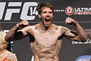 CALGARY, CANADA - JULY 20: Mitch Clarke makes weight at the UFC 149 weigh-in at the Scotiabank Saddledome on July 20, 2012 in Calgary, Alberta, Canada.  (Photo by Jeff Bottari/Zuffa LLC/Zuffa LLC via Getty Images)