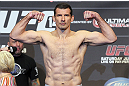 CALGARY, CANADA - JULY 20: Anthony Perosh makes weight at the UFC 149 weigh-in at the Scotiabank Saddledome on July 20, 2012 in Calgary, Alberta, Canada.  (Photo by Jeff Bottari/Zuffa LLC/Zuffa LLC via Getty Images)