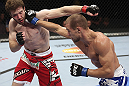 CALGARY, CANADA - JULY 21: (R-L) Anton Kuivanen lands a punch on Mitch Clarke during their lightweight bout at UFC 149 inside the Scotiabank Saddledome on July 21, 2012 in Calgary, Alberta, Canada.  (Photo by Nick Laham/Zuffa LLC/Zuffa LLC via Getty Images)