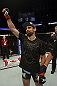 CALGARY, CANADA - JULY 21:  Antonio Carvalho celebrates after defeating Daniel Pineda by knockout during their featherweight bout at UFC 149 inside the Scotiabank Saddledome on July 21, 2012 in Calgary, Alberta, Canada.  (Photo by Nick Laham/Zuffa LLC/Zuffa LLC via Getty Images)