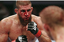 CALGARY, CANADA - JULY 21:  Court McGee stares down Nick Ring during their middleweight bout at UFC 149 inside the Scotiabank Saddledome on July 21, 2012 in Calgary, Alberta, Canada.  (Photo by Nick Laham/Zuffa LLC/Zuffa LLC via Getty Images)