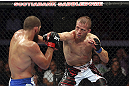 CALGARY, CANADA - JULY 21: (R-L) Nick Ring throws a punch at Court McGee during their middleweight bout at UFC 149 inside the Scotiabank Saddledome on July 21, 2012 in Calgary, Alberta, Canada.  (Photo by Nick Laham/Zuffa LLC/Zuffa LLC via Getty Images)
