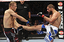 CALGARY, CANADA - JULY 21:  (L-R) Nick Ring blocks a kick from Court McGee during their middleweight bout at UFC 149 inside the Scotiabank Saddledome on July 21, 2012 in Calgary, Alberta, Canada.  (Photo by Nick Laham/Zuffa LLC/Zuffa LLC via Getty Images)