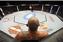 CALGARY, CANADA - JULY 21: Shawn Jordan stands in his corner of the Octagon after he hit Kongo with an accidental elbow below the belt during their heavyweight bout at UFC 149 inside the Scotiabank Saddledome on July 21, 2012 in Calgary, Alberta, Canada.  (Photo by Nick Laham/Zuffa LLC/Zuffa LLC via Getty Images)